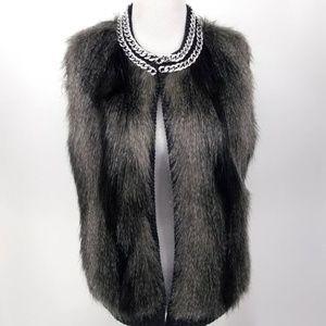 NEW JLO Jennifer Lopez L Gray Sweater Vest Faux Fu